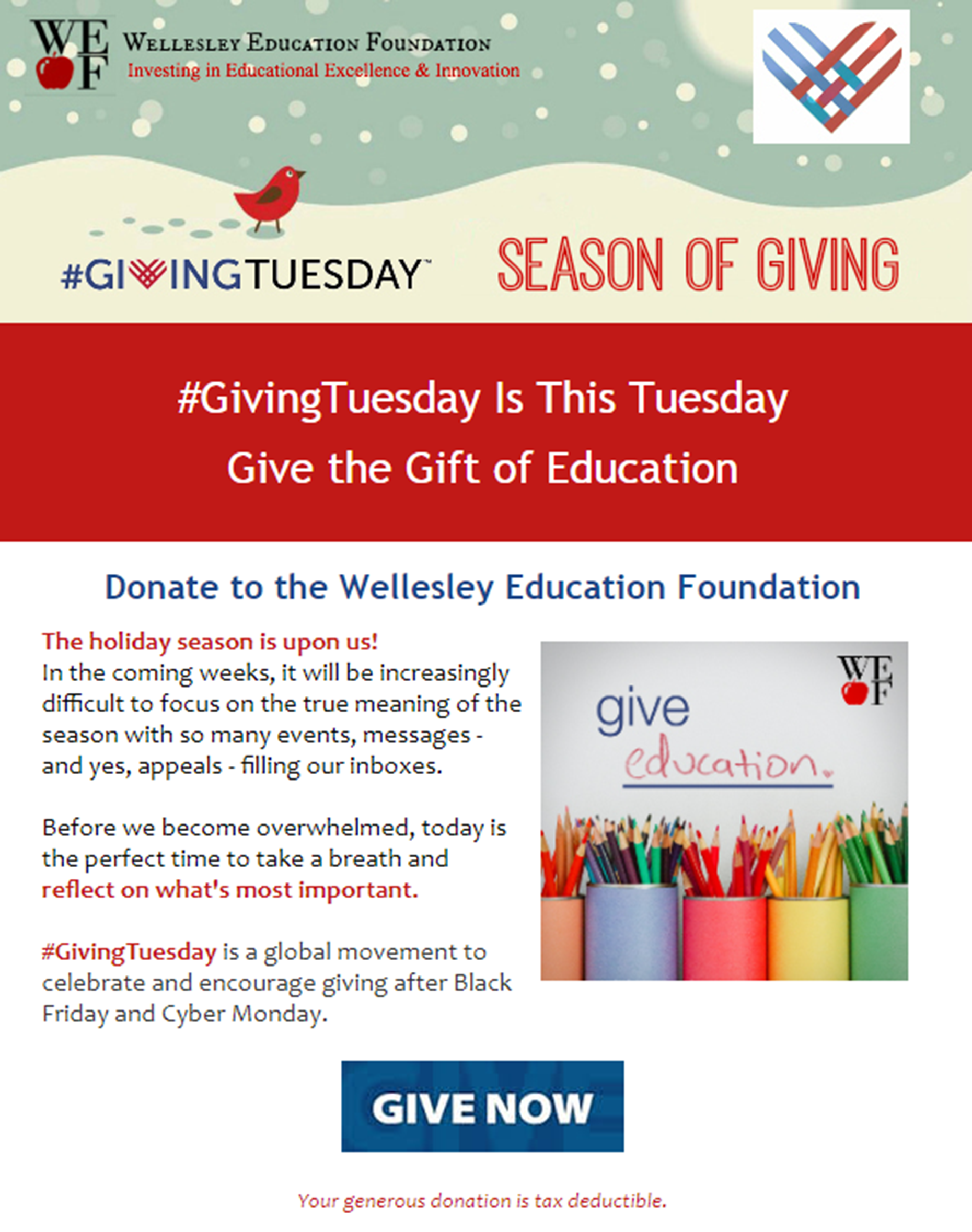 Wellesly Education Foundation Giving Tuesday email campaign