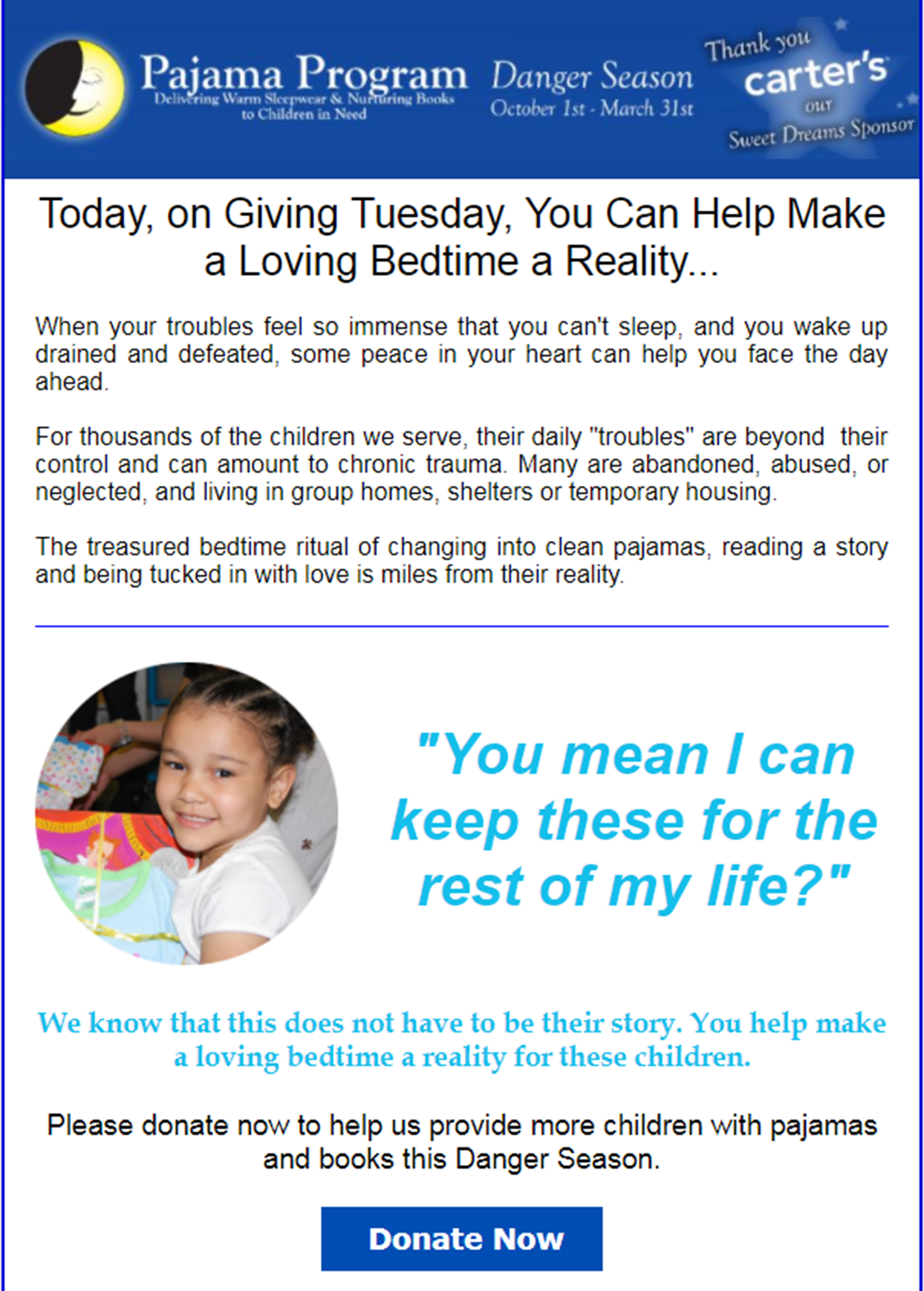 Pajama Program Example Giving Tuesday email