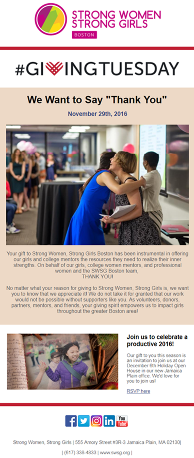 Giving Tuesday thank you email Example