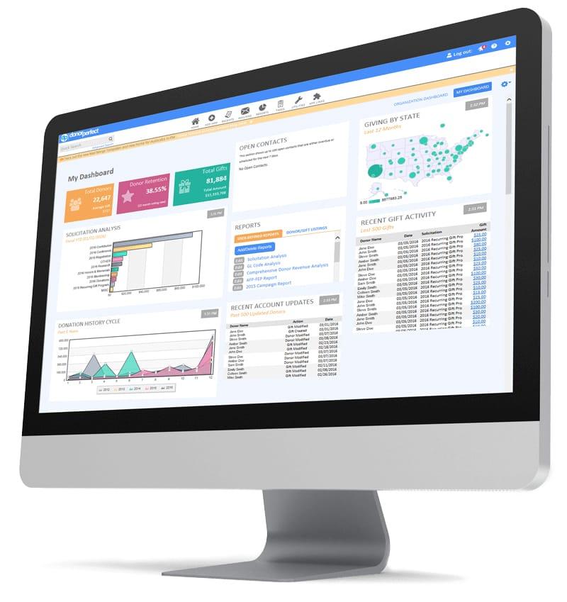 DonorPerfect Fundraising Software Dashboard Screenshot