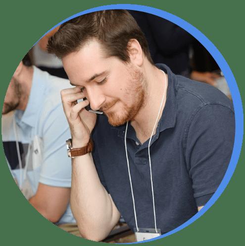 Softerware employee on phone