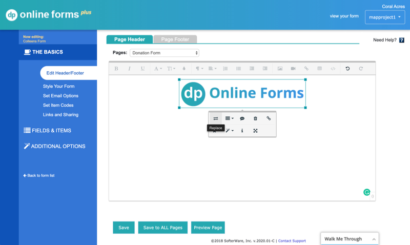 Add your logo to your form screen shot
