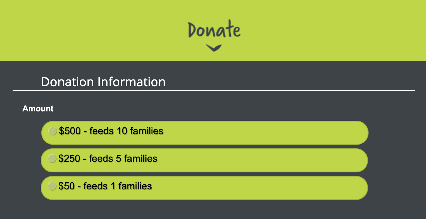 donation descriptions and amounts