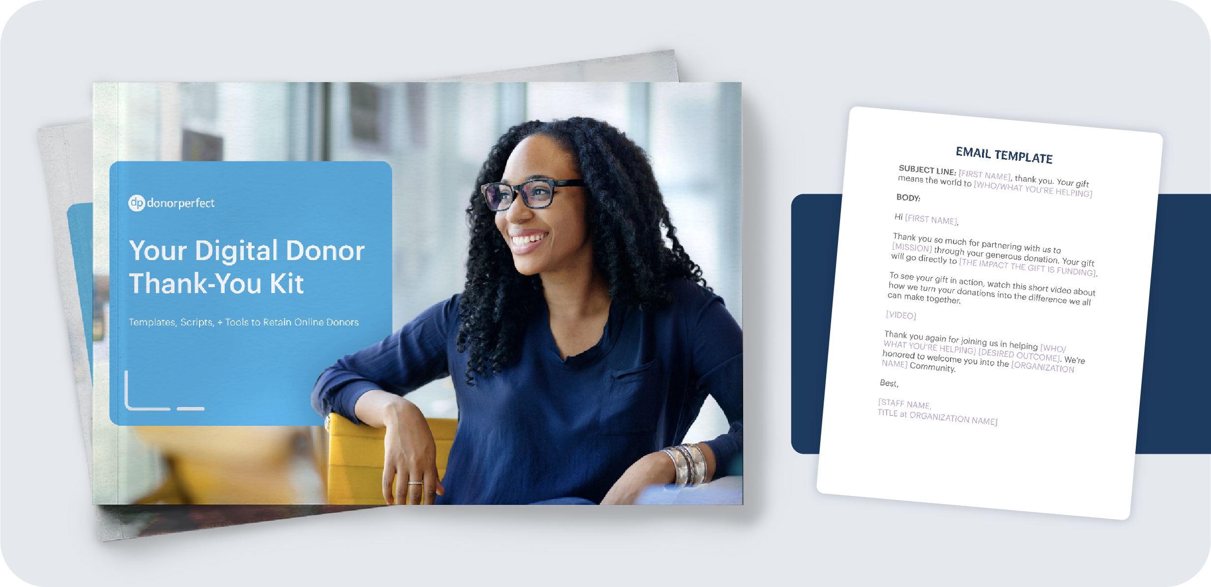 Your Digital Donor Thank-You Kit mockup with template example