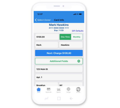 DonorPerfect Mobile App Payment Processing