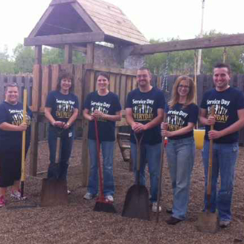 people with shovels at freedom house event
