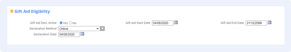 Fundraising CRM Gift Aid and Receipting Screenshot
