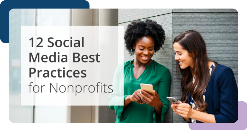 Two nonprofit employees sharing 12 Social Media Best Practices for Nonprofits