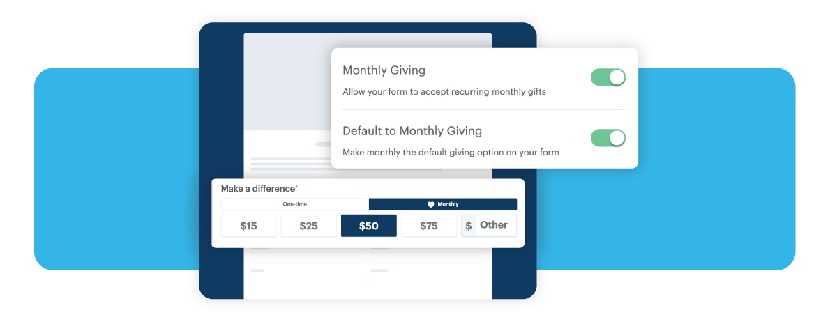 example of DP Forms and the monthly giving option