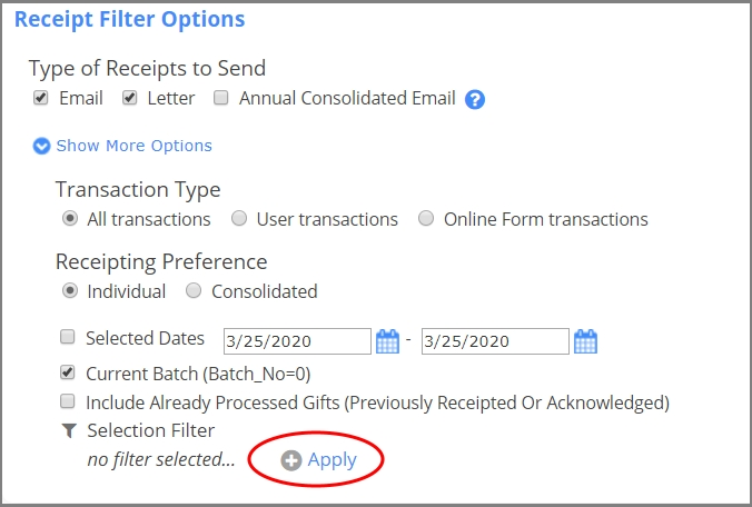 Client suggestions on DonorPerfect usability improvements changed how to apply Selection Filters