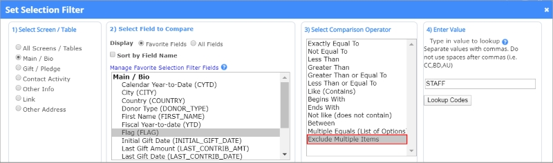 the new Exclude Multiple Items operator means no more compound filters to manage donor data