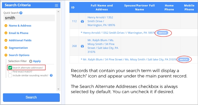 Manage donor data with better address matching in your search results.