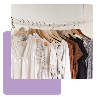 Clothing on rack for virtual fashion show