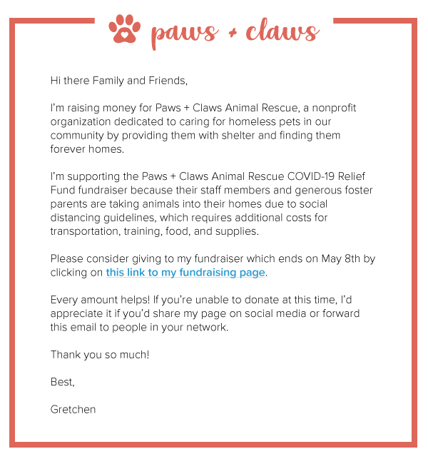 COVID crowdfunding email template