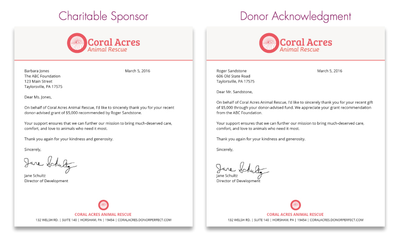 Side-by-side comparison between charitable sponsor thank you letter and individual donation acknowledgement letter