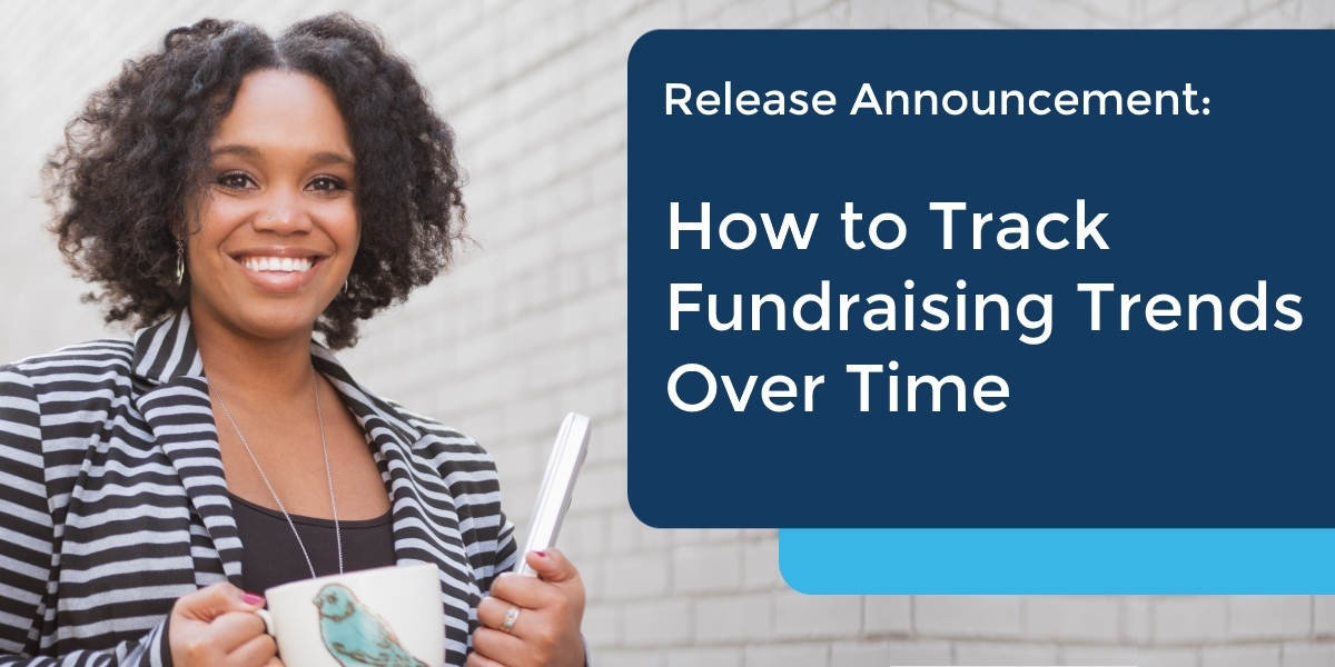 Track fundraising trends with DP Dashboard - image of woman smiling with laptop.