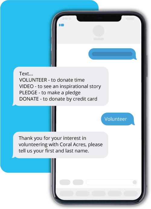 Mobile phone screen example fundraising dialogue for text-to-donate feature