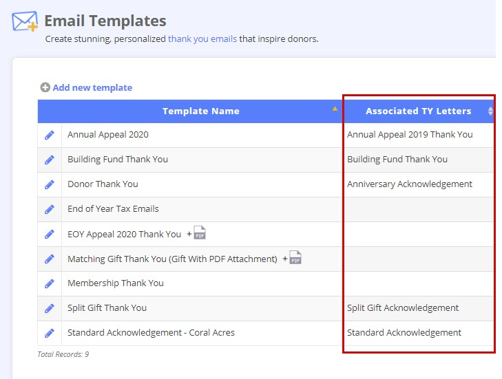Associate your email templates with a thank-you code to make sure monthly giving receipts are sent automatically.
