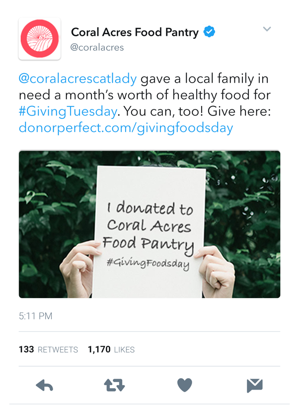 Screenshot of a nonprofit's tweet thanking a supporter for their donation, with the supporters username tagged