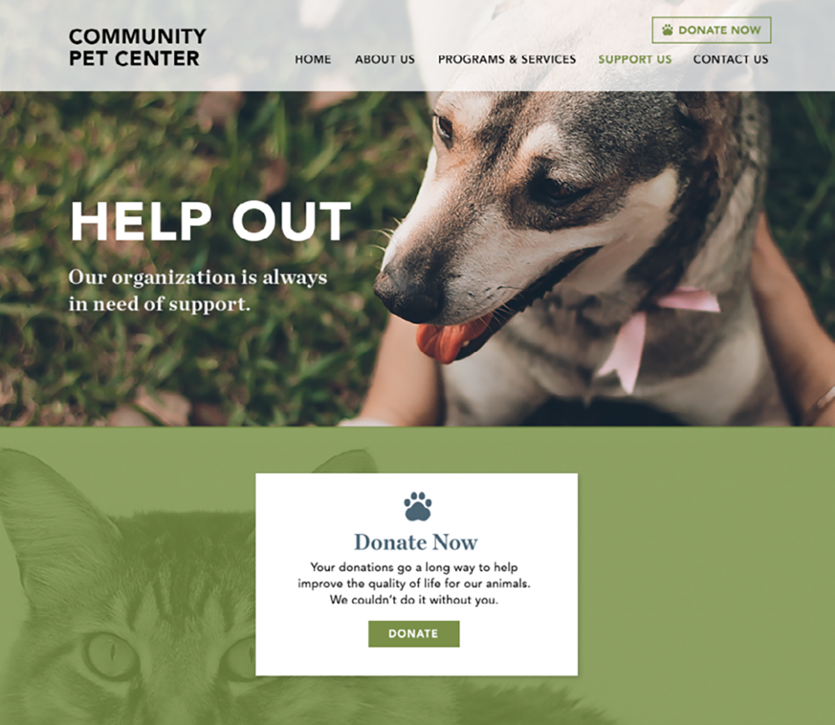 example of a Support Us page built using Constant Contact