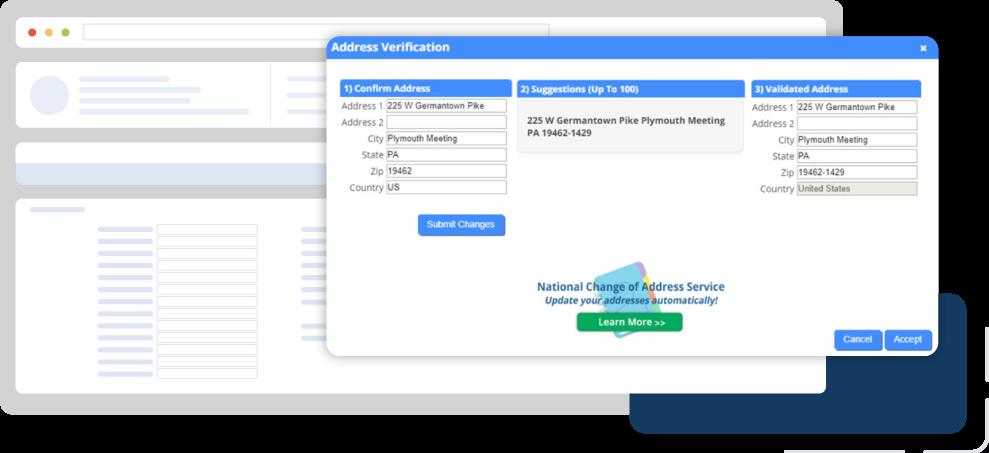 Screenshot: DonorPerfect's address verification feature