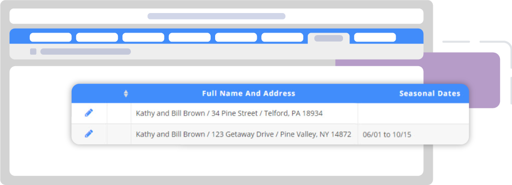 Screenshot: DonorPerfect donor record with seasonal addresses