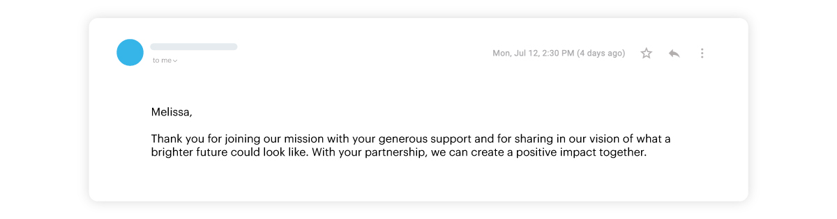 example two of donor thank you email