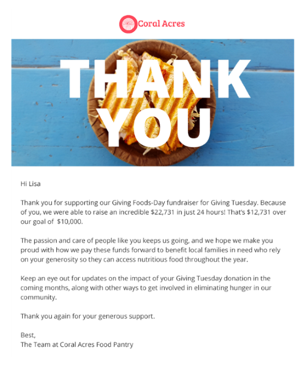 sample thank you email to follow up with Giving Tuesday donors