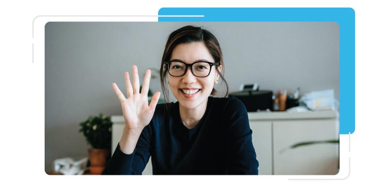 lady hosting a virtual event