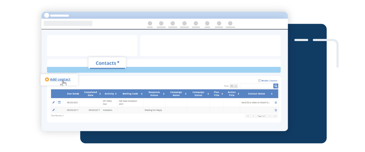 screenshot of adding a contact in DonorPerfect Fundraising Platform
