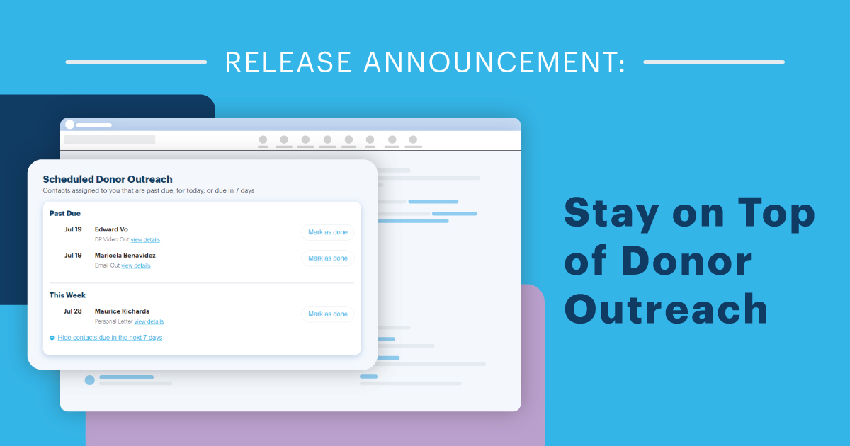 Release Announcement: Stay on Top of Donor Outreach