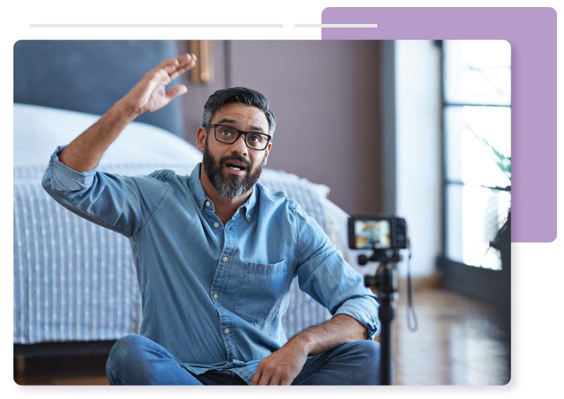 Man filming a virtual event