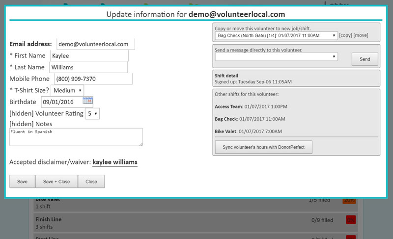 VolunteerLocal Volunteer Update Form Screenshot