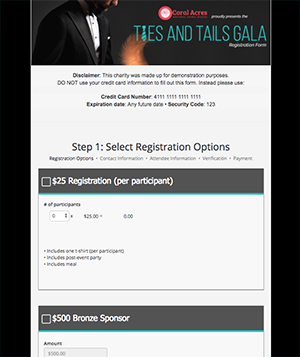 Online Charity Event Registration Form Example