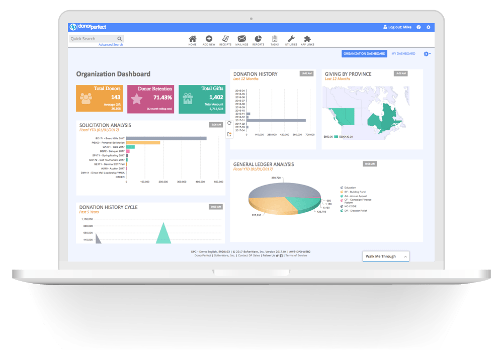 DonorPerfect Fundraising Dashboard