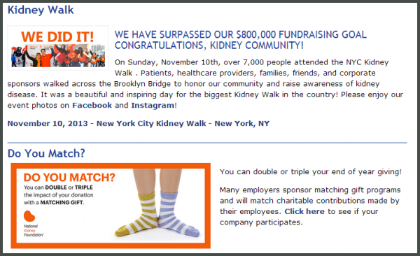Matching Gift Newsletter National Kidney Foundation Example