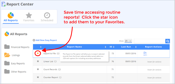 DonorPerfect's new reporting features include the ability to bookmark favorite reports.