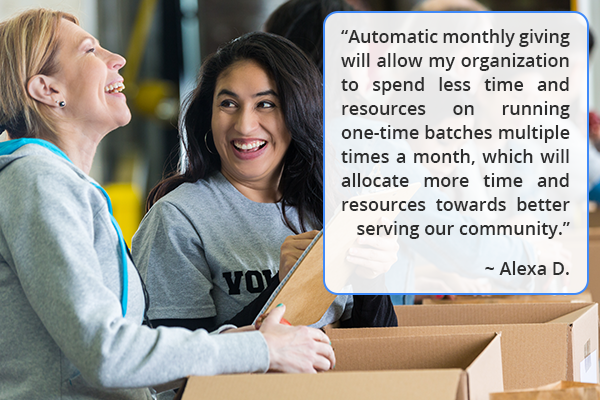 Save time! DonorPerfect's Automatic Monthly Giving will check to see which pledges in your recurring gift program are due and then process them for you.