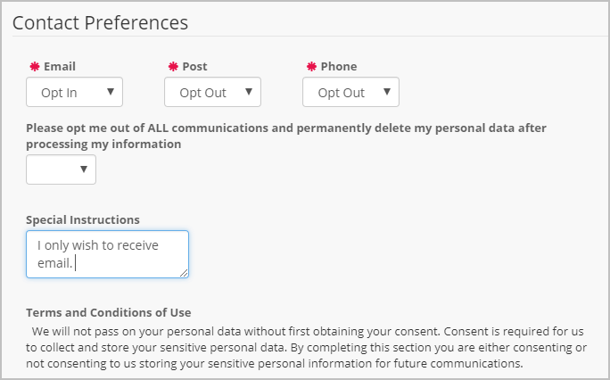 DP Online Forms contain a section for supporters to confirm their contact settings for GDPR requirements.